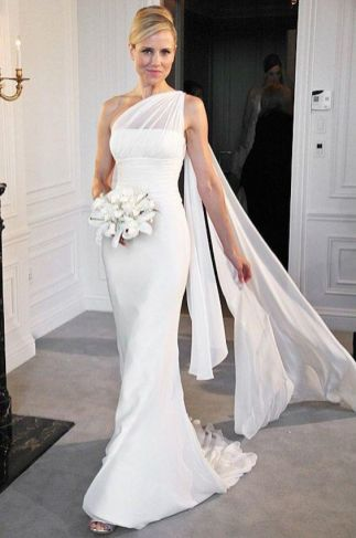 50 One Shoulder Bridal Dresses Ideas 18