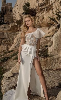 50 One Shoulder Bridal Dresses Ideas 42