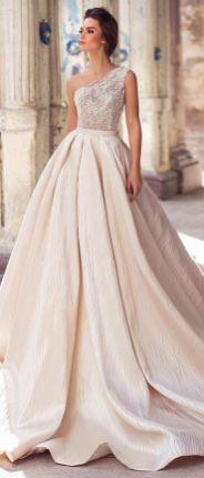 50 One Shoulder Bridal Dresses Ideas 5