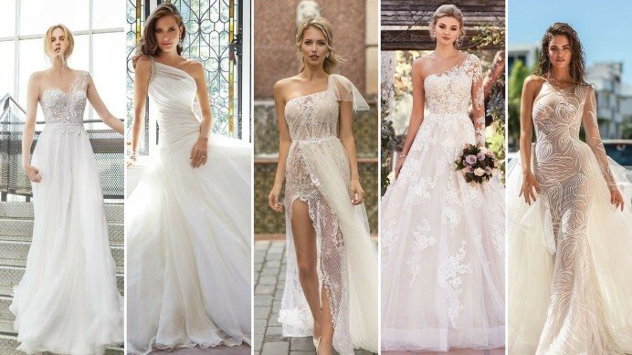 50 One Shoulder Bridal Dresses Ideas 54