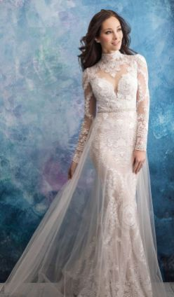 50 Simple Glam Victorian Neck Style Bridal Dresses Ideas 19