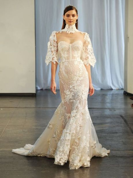 50 Simple Glam Victorian Neck Style Bridal Dresses Ideas 20