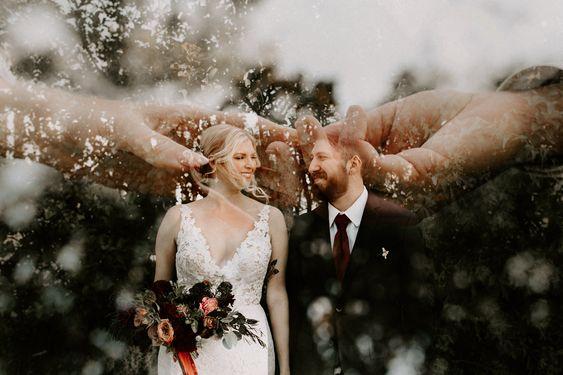 50 Romantic Wedding Double Exposure Photos Ideas 35