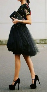40 Simple Glam Black Tulle Skirt Outfits Ideas 8