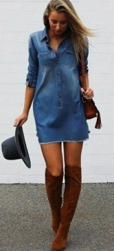 55 Casual Denim Dresses for Outing Ideas 1