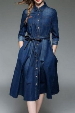 55 Casual Denim Dresses for Outing Ideas 4
