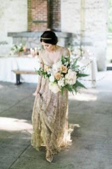 60 Gold Glam Wedding Dresses Inspiration 04