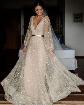 80 Inspiring Beautiful Sequin Bridal Gown 44