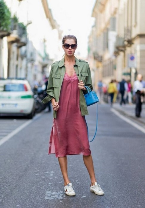 80 Stylish and Comfy Dress and Sneakers Outfit Look 13