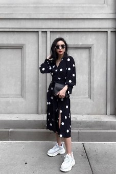 80 Stylish and Comfy Dress and Sneakers Outfit Look 15