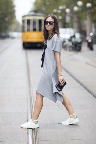 80 Stylish and Comfy Dress and Sneakers Outfit Look 18
