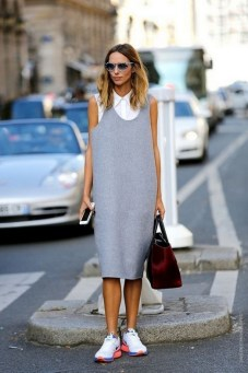 80 Stylish and Comfy Dress and Sneakers Outfit Look 21