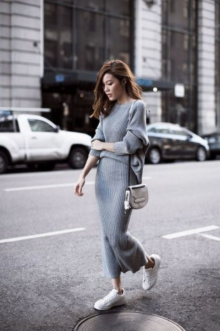 80 Stylish and Comfy Dress and Sneakers Outfit Look 32