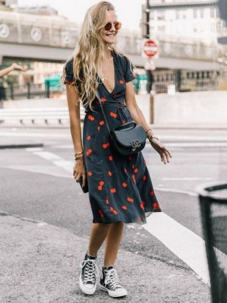 80 Stylish and Comfy Dress and Sneakers Outfit Look 44