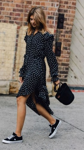 80 Stylish and Comfy Dress and Sneakers Outfit Look 5