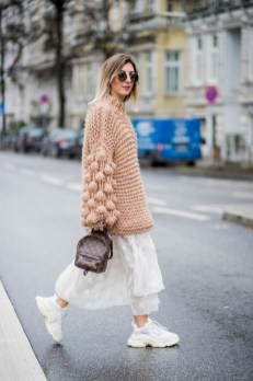 80 Stylish and Comfy Dress and Sneakers Outfit Look 61