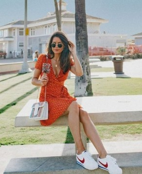 80 Stylish and Comfy Dress and Sneakers Outfit Look 82