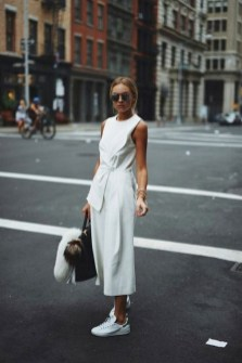 80 Stylish and Comfy Dress and Sneakers Outfit Look 9