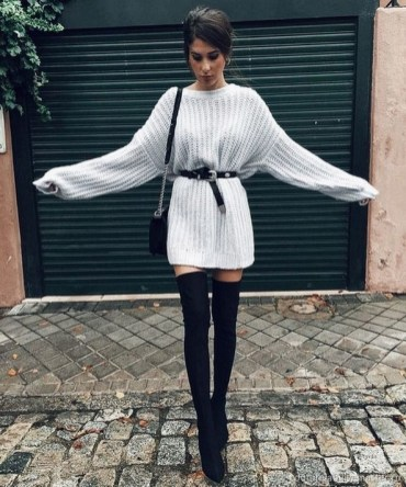 80 Thigh High Boots Outfit Street Style Ideas 05