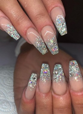 50 Acrylic Nails Ideas with Glitter Which You Love 14