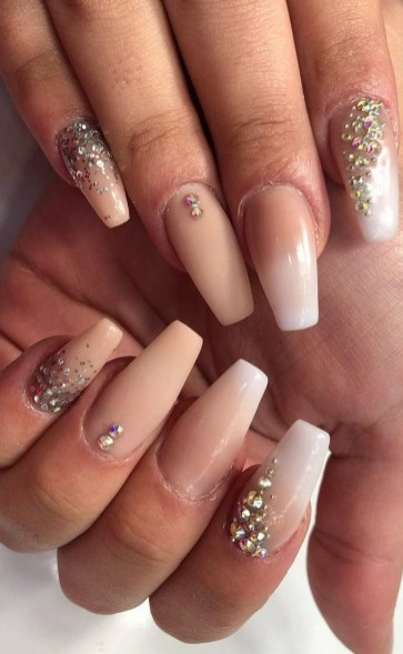 50 Acrylic Nails Ideas with Glitter Which You Love 45