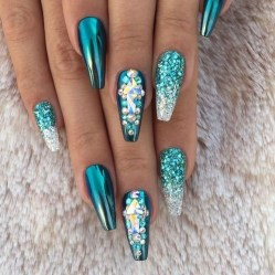 50 Acrylic Nails Ideas with Glitter Which You Love 49