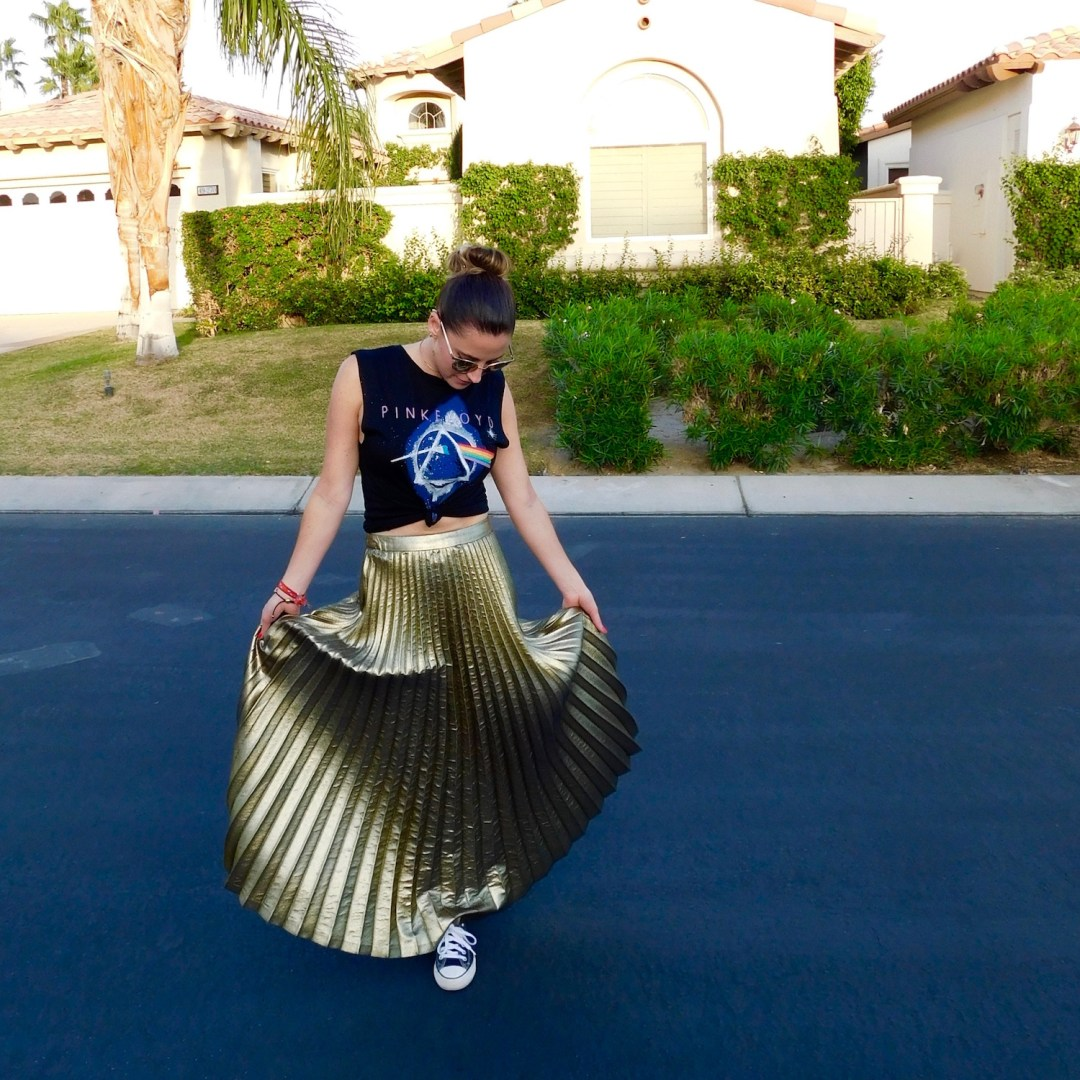 gold accordion skirt