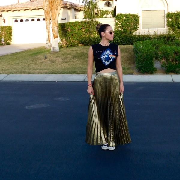 gold skirt rock tee