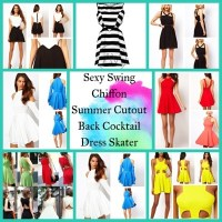 Sexy Swing Chiffon Summer Cutout Back Cocktail Dress Skater