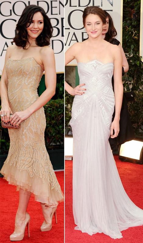 Katharine McPhee Shailene Woodley dresses 2012 Golden Globes
