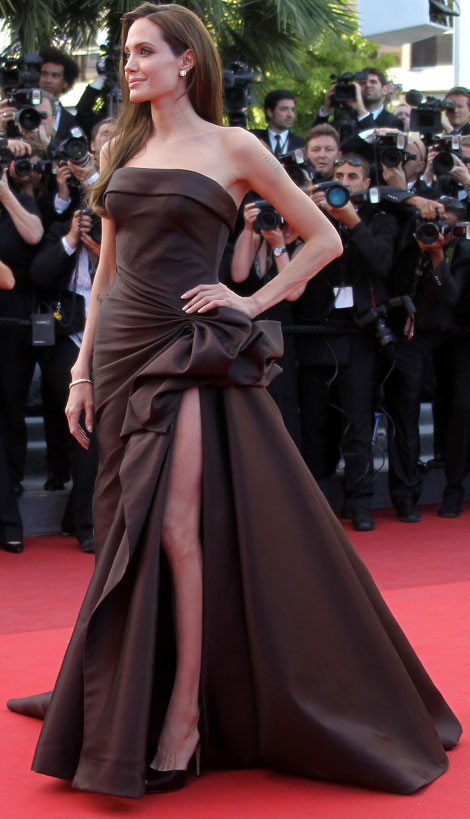 Angelina Jolie Chocolate brown strapless dress cannes 2011