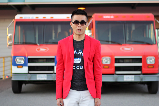 menswear red and white