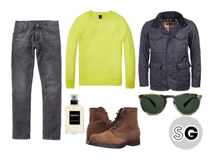 field jacket, waterproof, mohair, sweater, scotch and soda, nudie jeans, frye, warby parker, neon