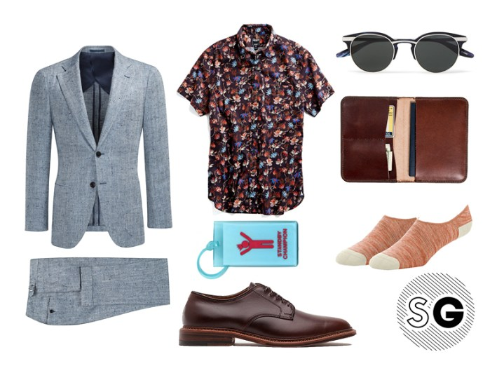 silk shirt, mack weldon, no show socks, barton perreira, todd snyder, travel style, suit supply, suit up, alden, flight 001, united by blue,