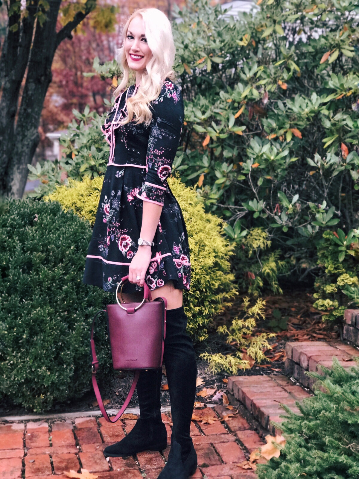 Fall Floral Dress, Bucket Bag, Over the Knee Boots