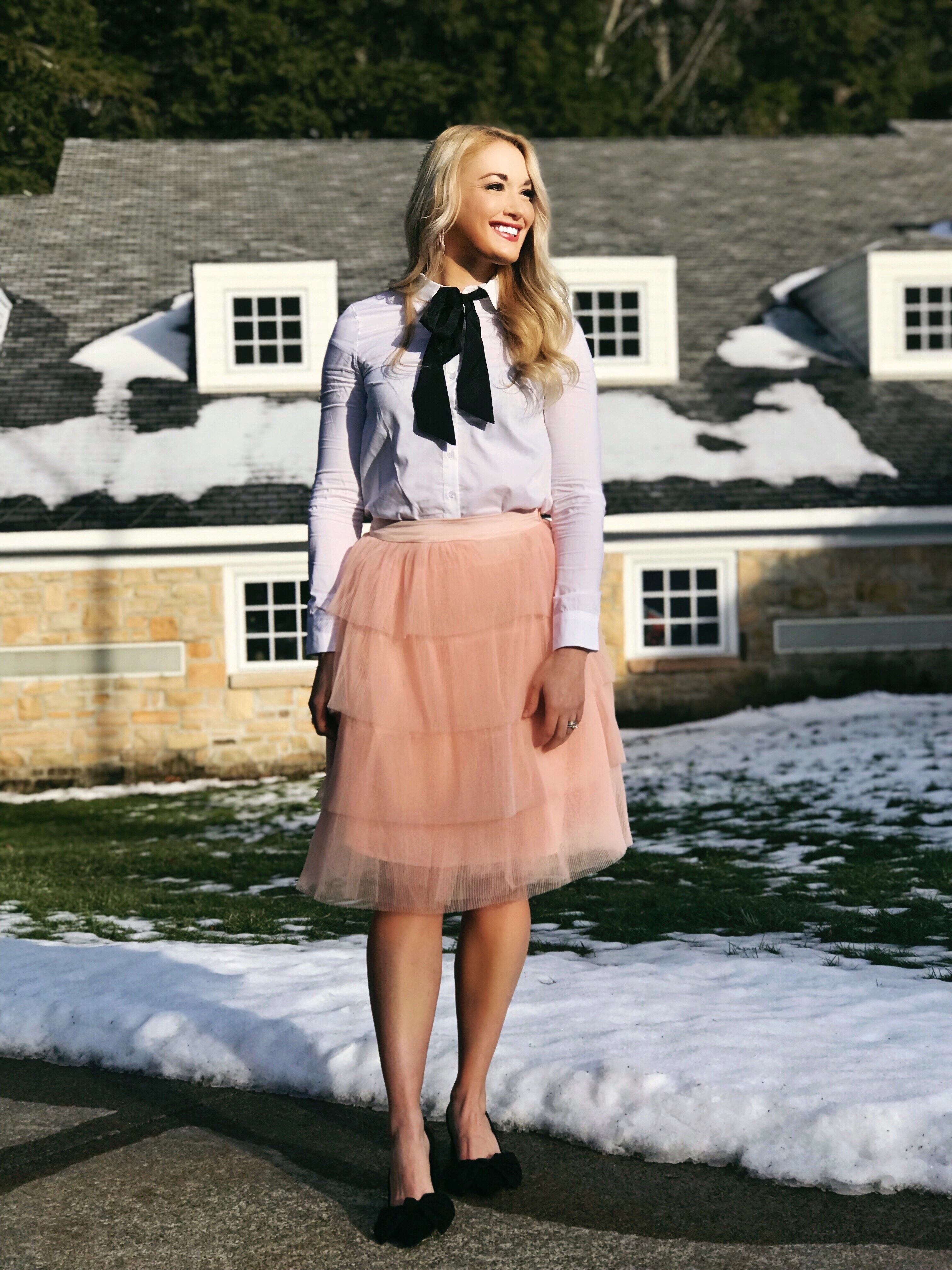 Bow Collar Blouse | Tiered Tulle Skirt | Bow Heels | www.styleherstrong.com | #classicstyle #preppy #fashionblogger