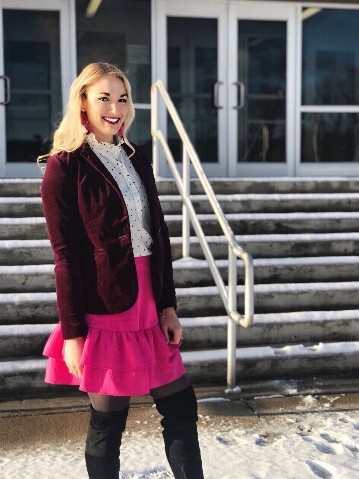 Velvet Blazer | Pink Ruffle Skirt | Over The Knee Boots | Polka Dot Blouse | www.styleherstrong.com