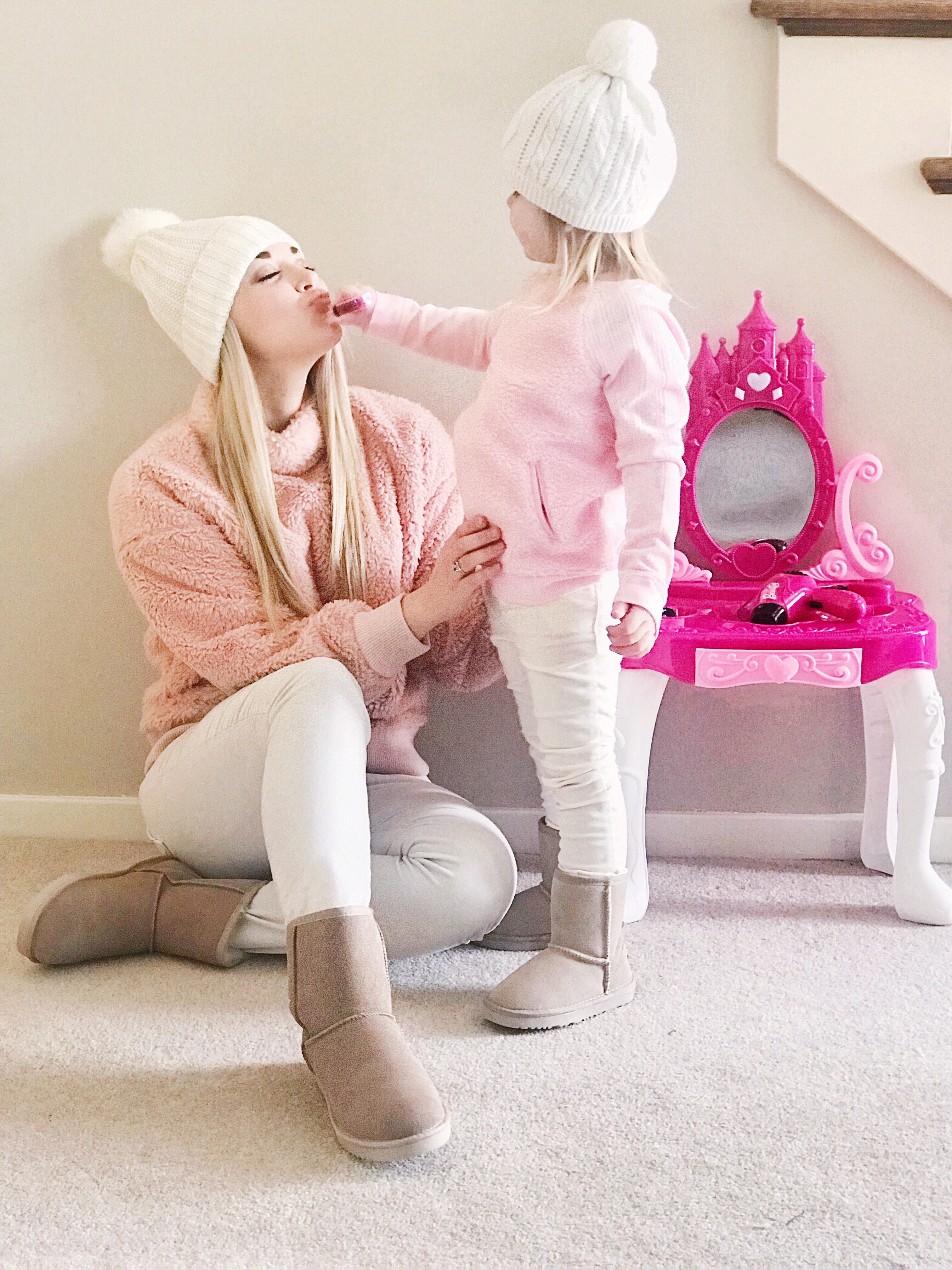 Mommy and Me Outfits | Teddy Bear Sweater | Blush | Winter Whites | Ugg Boots | www.styleherstrong.com