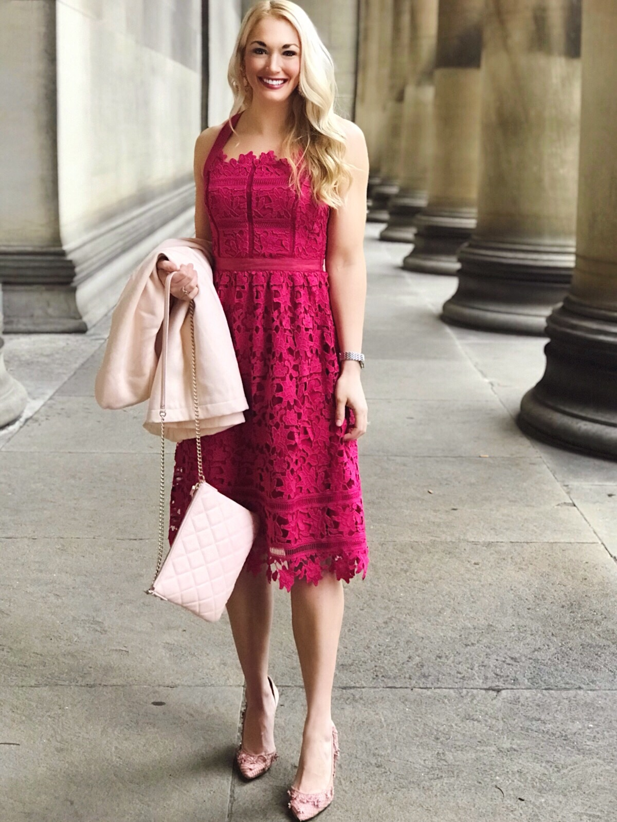 Lace Fit and Flare Dress | Valentine's Day Dress | Quilted Purse | Floral Embellished Pumps | #springstyle #fashion #fashionblogger #style #styleblogger #classicfashion #lacedress
