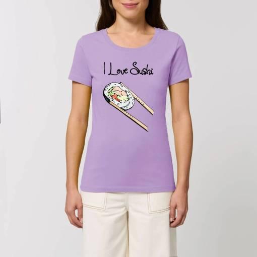 I love Sushi Dames T-shirt (966) (paars voor voorbeeld)