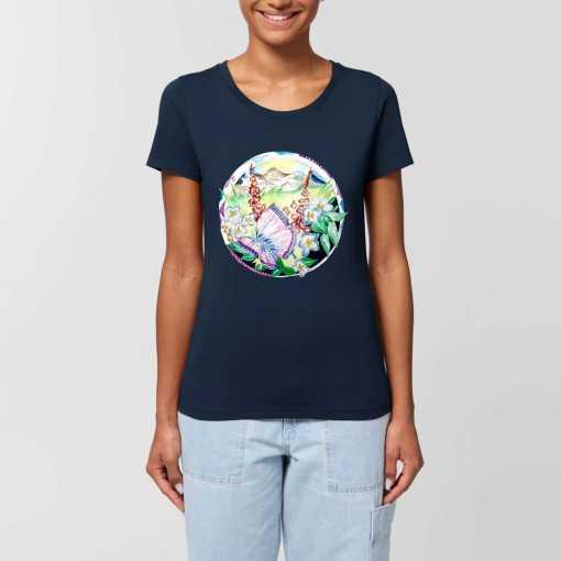Vlinder In Een Wereld Van Bloemen Dames T-shirt - 100% Biologisch Katoen
