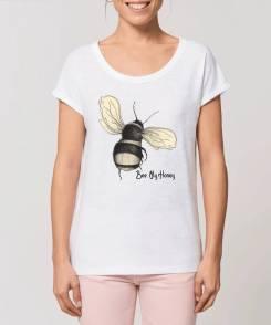 Bee My Honey Dames T-shirt - Met Opgerolde Mouw 100% biologisch