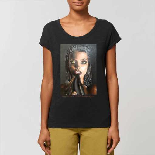 Black Vamp Dames T-shirt - Met Opgerolde Mouw 100% Biologisch