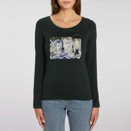 Group Of 3 Dames 100% biologisch T-Shirt Met Lange Mouwen