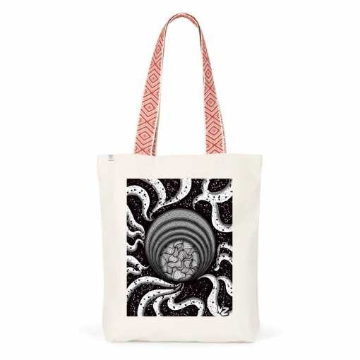 Black Into White Swirls Totebag – Biologisch Katoen