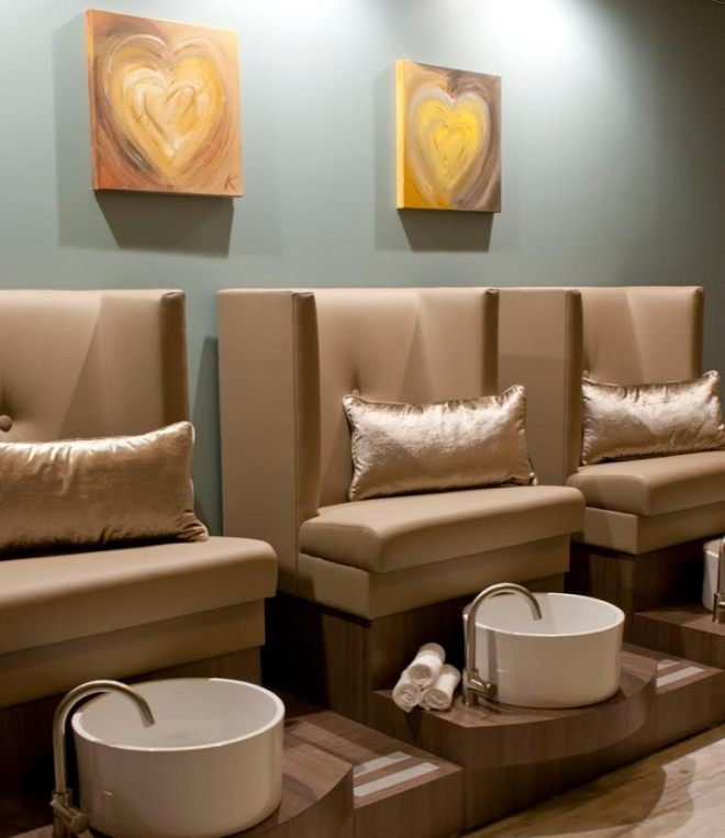Full-service pedicure stations at The Still Point's new location at mind-body retreat, Haven On The Lake.