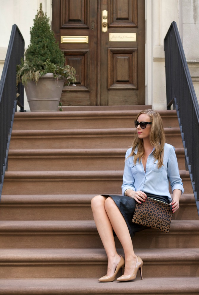 The Black Leather Pencil Skirt Amp Chambray Outfit Every