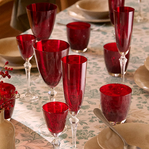 Red glasses for christmas table