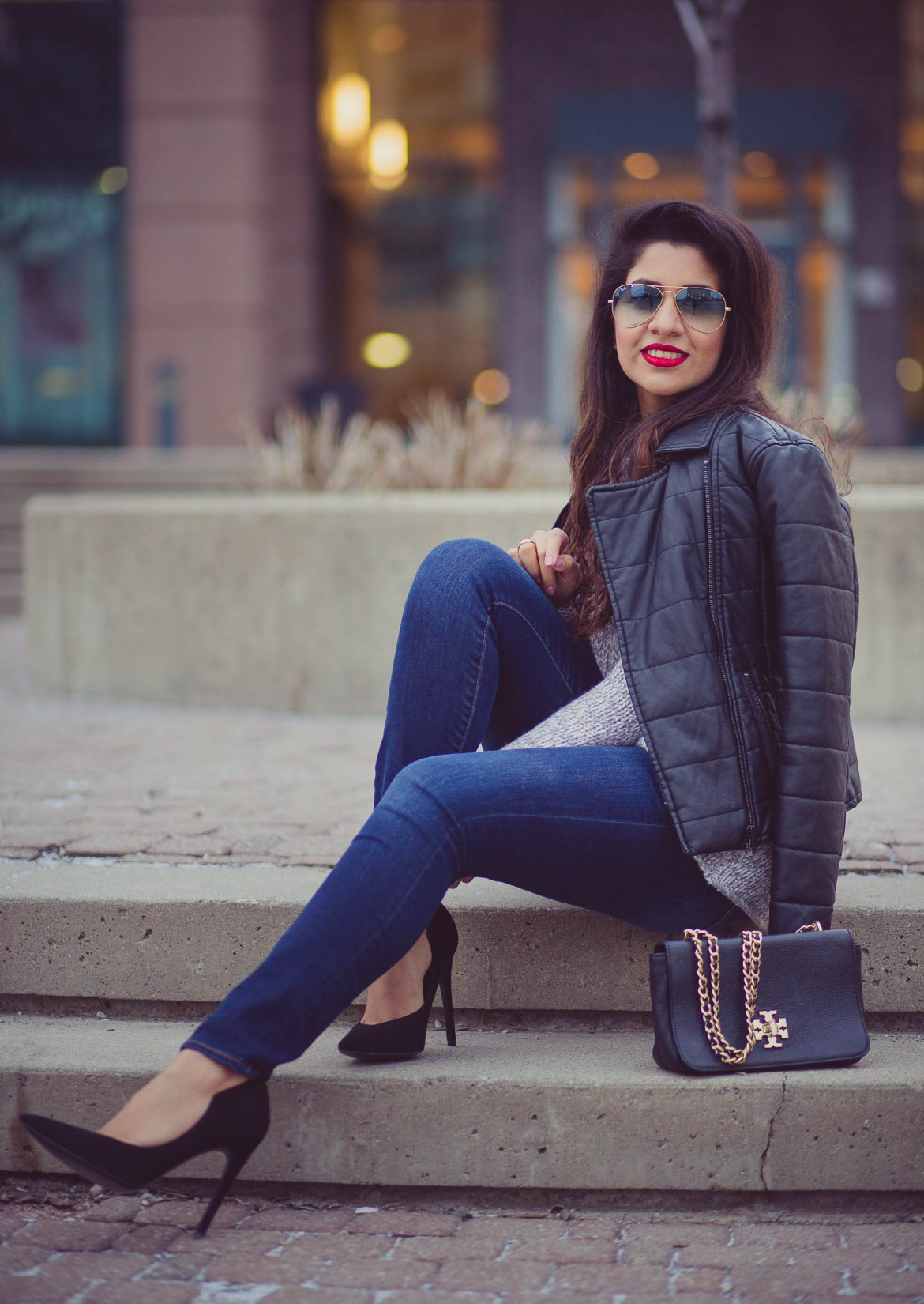 leather-jacket-club-monaco-sweater-knit-kylie-and-kendal-black-suede-ray-ban-aviators-basic-red-lips-casual-3