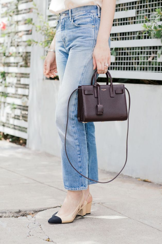 Blogger Style notes by belen wears levi vintage bing with anine bing silk cami and chanel shoes and saint laurent bag 5